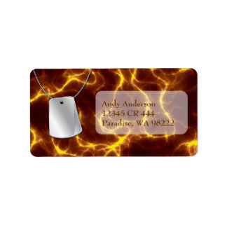 Dog Tags and Gold Lightning Address Label