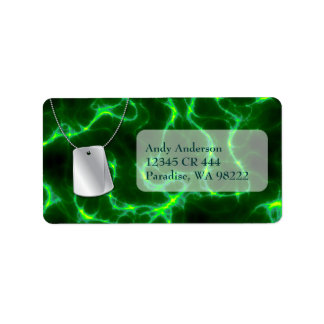 Dog Tags and Green Lightning Address Label