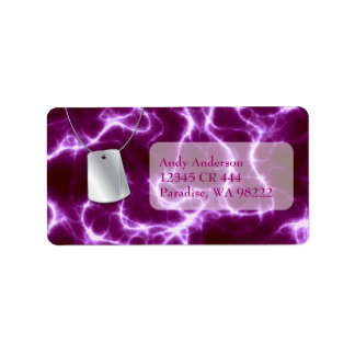Dog Tags and Purple Lightning Address Label