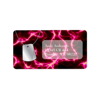 Dog Tags and Red Lightning Address Label