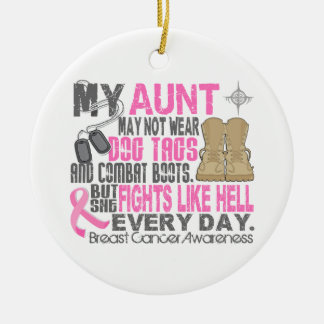 Dog Tags Breast Cancer Aunt Ornament