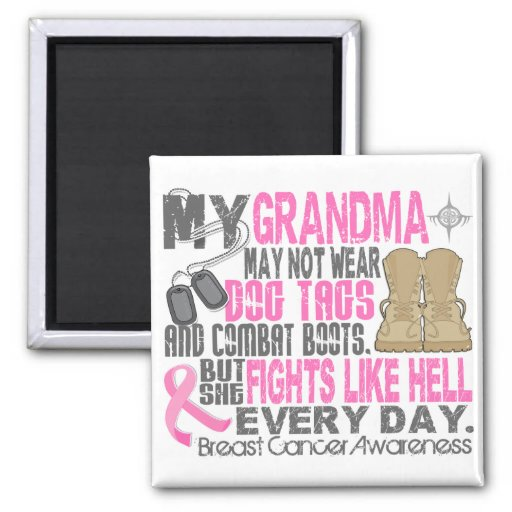 Dog Tags Breast Cancer Grandma 2 Inch Square Magnet