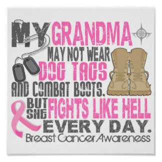 Dog Tags Breast Cancer Grandma Poster