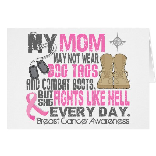 Dog Tags Breast Cancer Mom Greeting Card