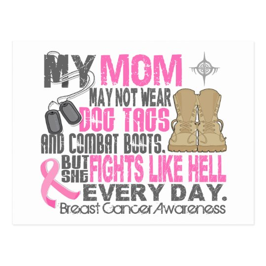 Dog Tags Breast Cancer Mom Postcard