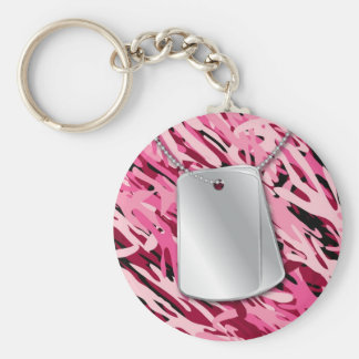 Dog Tags & Camo Basic Round Button Keychain