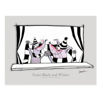 dog team bw postcard
