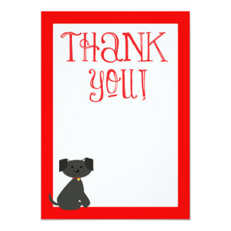 """Dog Thank You, Thank you Note 5"""" X 7"""" Invitation Card"""