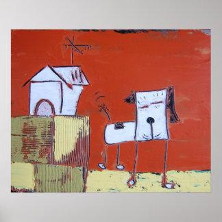 Dog & the Doghouse Art Print