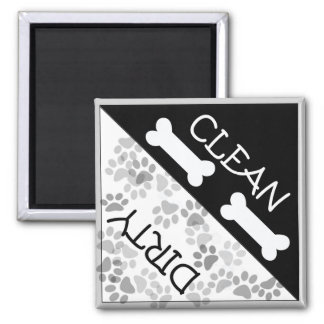 """Dog Theme """"Clean and Dirty"""" Reminder 2 Inch Square Magnet"""