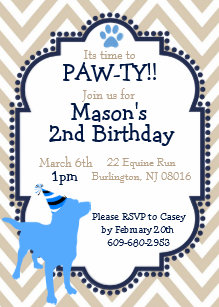 Dog Themed Birthday Party Invitation