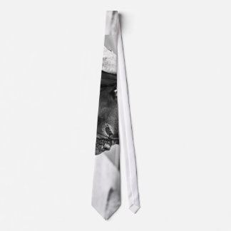 Dog Themed, Black France Bulldog With Scarf Siting Neck Tie