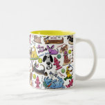 """Dog Themed Collage Two-Tone Coffee Mug<br><div class=""""desc"""">Whoa,  doggie! Fun collage of different types of dogs and their toys to brighten your day! Original design by Christie Black of Creations from the Heart.</div>"""