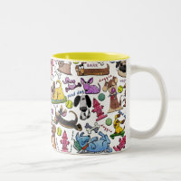 Dog Themed Collage Two-Tone Coffee Mug