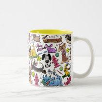 Dog Themed Collage Two-Tone Coffee Mug