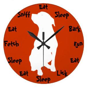 Captivating Dog Time Large Clock