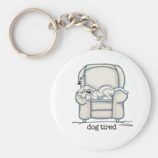 Dog Tired button Keychain