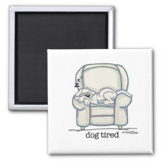 Dog Tired button Magnet