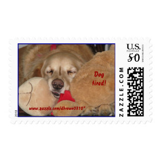 Dog Tired Golden Retriever Postage Stamp