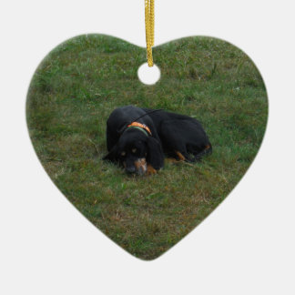 Dog Tired Double-Sided Heart Ceramic Christmas Ornament