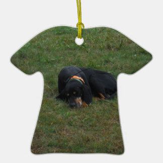 Dog Tired Double-Sided T-Shirt Ceramic Christmas Ornament