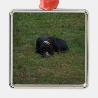 Dog Tired Square Metal Christmas Ornament