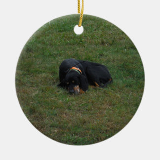 Dog Tired Double-Sided Ceramic Round Christmas Ornament