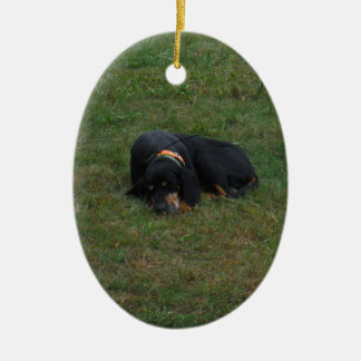 Dog Tired Double-Sided Oval Ceramic Christmas Ornament