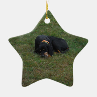 Dog Tired Double-Sided Star Ceramic Christmas Ornament