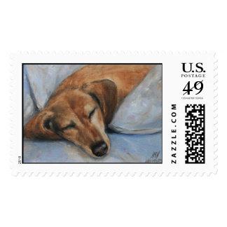 Dog Tired- the Dachshund Postage
