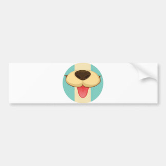 Dog Tongue, Nose On Vintage Retro Blue Cream Brown Bumper Stickers
