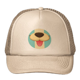 Dog Tongue, Nose On Vintage Retro Blue Cream Brown Mesh Hat