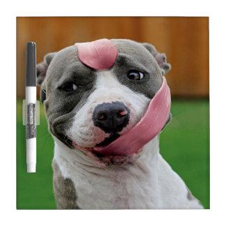 Dog tongue - pitbull dog - funny dogs dry erase board