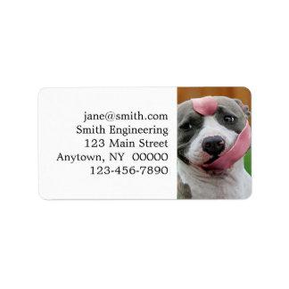 Dog tongue - pitbull dog - funny dogs label