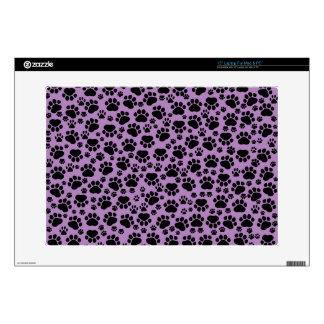 Dog Trails, Pattern With Dog Paws - Purple Black Laptop Decals