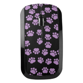 Dog Trails, Pattern With Dog Paws - Purple Black Wireless Mouse
