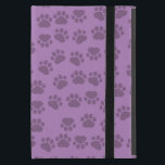 """Dog Trails, Pattern With Dog Paws - Purple Cover For iPad Mini<br><div class=""""desc"""">This image features dog paws (traces, trails, paw-prints) in purple color. Background is purple. Dogs are considered to be mans best friend. The term &quot;domestic dog&quot; is generally used for domesticated varieties. The dog may have been the first animal to be domesticated. Great gift for dog lovers and many more!...</div>"""