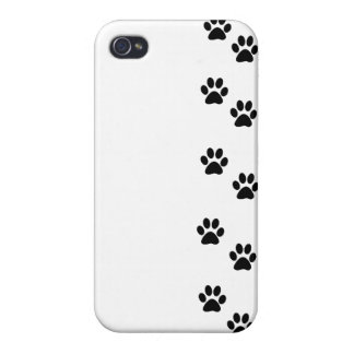 Dog Trails, Pattern With Dog Paws - White Black Case For iPhone 4