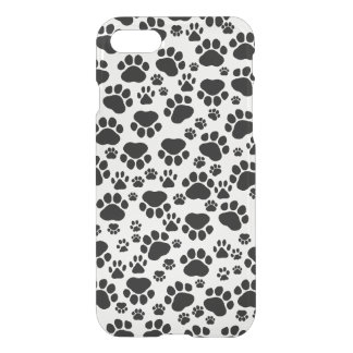 Dog Trails, Pattern With Dog Paws - White Black iPhone 8/7 Case