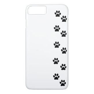 Dog Trails, Pattern With Dog Paws - White Black iPhone 8 Plus/7 Plus Case