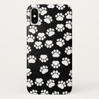 Dog Trails, Pattern With Dog Paws - White Black iPhone X Case