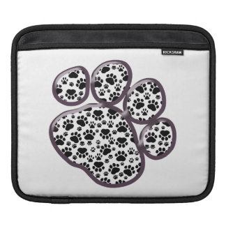 Dog Trails, Pattern With Dog Paws - White Black Sleeve For iPads