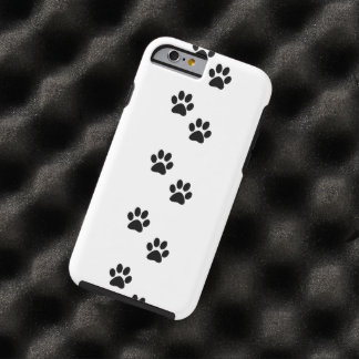 Dog Trails, Pattern With Dog Paws - White Black Tough iPhone 6 Case