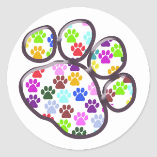 Dog Trails, Puppy Paws, Traces - Red Blue Green Classic Round Sticker