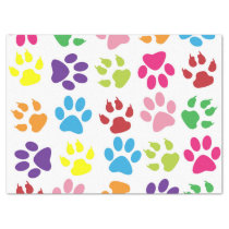 Dog Trails, Puppy Paws, Traces - Red Blue Green Tissue Paper