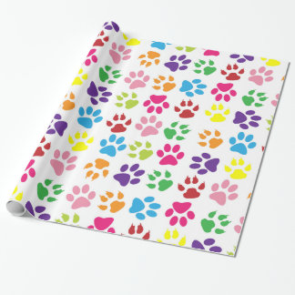 Dog Trails, Puppy Paws, Traces - Red Blue Green Wrapping Paper