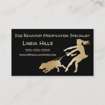 Dog Trainer Faux Gold Dog Behavior Modification Business Card