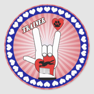 DOG TRAINER - LOVE SIGN ASL CLASSIC ROUND STICKER