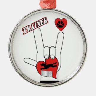 DOG TRAINER - LOVE SIGN ASL METAL ORNAMENT