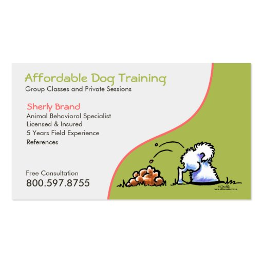 Dog trainer pet business naughty samoyed double sided for Dog trainer business card